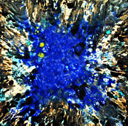 Ceramic Glazes Metal Prints - Kinetic Blue Metal Print by Joan Reese