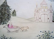 Winter Scene Pastels Prints - King and Castle Print by Christine Corretti