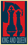 Chess Piece Digital Art Posters - KING AND QUEEN in HOPE Poster by Rob Hans