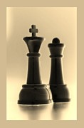 Chess Piece Digital Art Posters - KING AND QUEEN in SEPIA Poster by Rob Hans