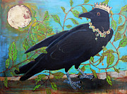 Bright Mixed Media Framed Prints - King Crow Framed Print by Blenda Tyvoll