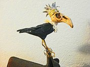 Bronze Wire Prints - King Crow Print by Lenore Senior