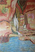 Waterfall Drawings Prints - King Davids Hiding Place Print by Esther Newman-Cohen