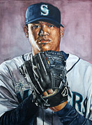 Seattle Mariners Framed Prints - King Felix Hernandez Framed Print by Michael  Pattison