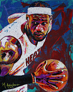 Basketball Painting Posters - King James Poster by Maria Arango