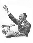 Martin Luther King Jr Drawings Prints - King Print by Jonathan Brown