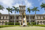 Aliiolani Prints - King Kamehameha in Leis Print by Brandon Tabiolo