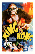 Classic Hollywood Mixed Media Prints - King Kong 1933 Movie Art Print by Presented By American Classic Art