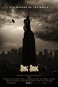 Empire State Building Digital Art Metal Prints - KING KONG Custom Poster Metal Print by Jeff Bell