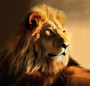 Furry Digital Art Prints - King Lion Of Africa Print by Zeana Romanovna