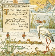 Stork Drawings Prints - King - Log - Kings Stork Print by Pg Reproductions