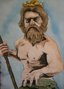 Neptune Painting Prints - King Neptune Print by Betty-Anne McDonald
