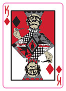 Dogs Playing Poker Posters - King of Diamonds Poster by Cevin Cox