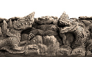 Novel Sculptures - King Of Nagas And Kylin Carving On Teak by Pakorn Kitpaiboolwat