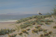 Dunes Drawings Prints - King of the Beach Print by Tina Obrien