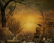 Fantasy Tree Art Mixed Media Prints - King of The Ruins Print by Bedros Awak