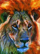Abstract Wildlife Mixed Media - King Of The Wilderness by Zeana Romanovna