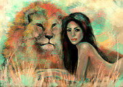 Lion Digital Art Metal Prints - King Metal Print by Slaveika Aladjova