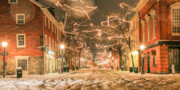 Snowy Night Framed Prints - King Street Framed Print by JC Findley