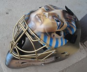 Hockey Goalie Paintings - King Tut goalie mask by Bas Hollander