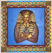 Michael Mixed Media Posters - KING TUT - Handcarved Poster by Michael Pasko