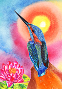 Kingfisher Mixed Media - Kingfisher and Pink Waterlilly by Irina Chernysheva