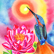 Kingfisher Mixed Media - Kingfisher and Waterlilly by Irina Chernysheva