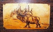 Wood Pyrography Prints - Kingof forest-wood pyrography Print by Egri George-Christian