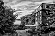 Kingston Digital Art Prints - Kingston Mill - Princeton NJ in Black and White Print by Bill Cannon