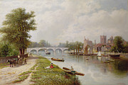 Park Scene Painting Metal Prints - Kingston on Thames Metal Print by Robert Finlay McIntyre