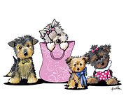 Dogs Mixed Media - KiniArt Yorkies by Kim Niles