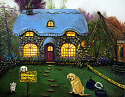 Kinkade Framed Prints - Kinkades Worst Nightmare 2  Framed Print by Leah Saulnier The Painting Maniac