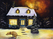 Christmas Trees Posters - Kinkades Worst Nightmare Poster by Leah Saulnier The Painting Maniac