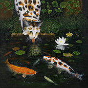 Lilly Pond Paintings - Kinship by Karen Zuk Rosenblatt