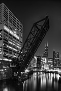 Old Chicago Water Tower Framed Prints - Kinzie Street railroad bridge at night in Black and White Framed Print by Sebastian Musial