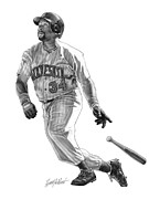 Mlb Drawings Prints - Kirby Puckett Print by Harry West