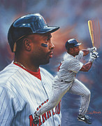 Baseball Painting Metal Prints - Kirby Puckett Minnesota Twins Metal Print by Dick Bobnick