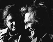 Judge Roy Bean Photos - Kirk Douglas laughing Johnny Cash Old Tucson AZ by David Lee Guss