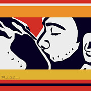 Adults Digital Art Posters - Kiss 2 Poster by Mark Ashkenazi