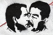 Saddam Hussein Prints - Kiss Print by A Rey