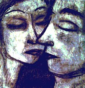 Anticipation Drawings - Kiss by Amy Marie Adams