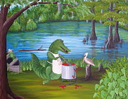 Alligator Paintings - Kiss Da Cook by Valerie Chiasson-Carpenter