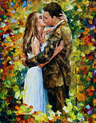 Kissing Art - Kiss in The Woods by Leonid Afremov
