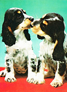 Dogs Mixed Media - Kiss Me - Cocker Spaniel Art by Sharon Cummings by Sharon Cummings