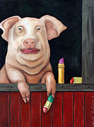 Pig Paintings - Kiss Me You Fool by Leah Saulnier The Painting Maniac