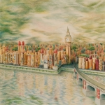 Bridge Drawings Originals - Kiss of London by Mary Jo Jung
