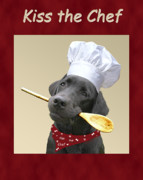 Labradors Digital Art Framed Prints - Kiss the Chef Framed Print by Amy Reges