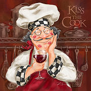 People Mixed Media Prints - Kiss the Cook Print by Shari Warren