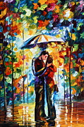 Oil Knife Framed Prints - Kiss Under The Rain 2 Framed Print by Leonid Afremov