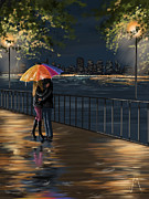 Umbrella Digital Art - Kiss by Veronica Minozzi